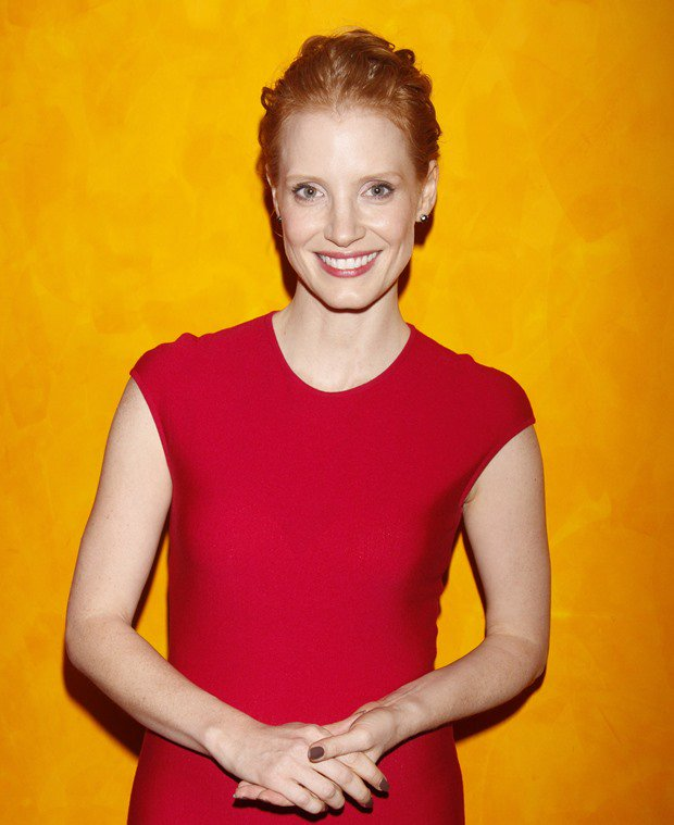 Jessica Chastain in a red Alexander McQueen dress