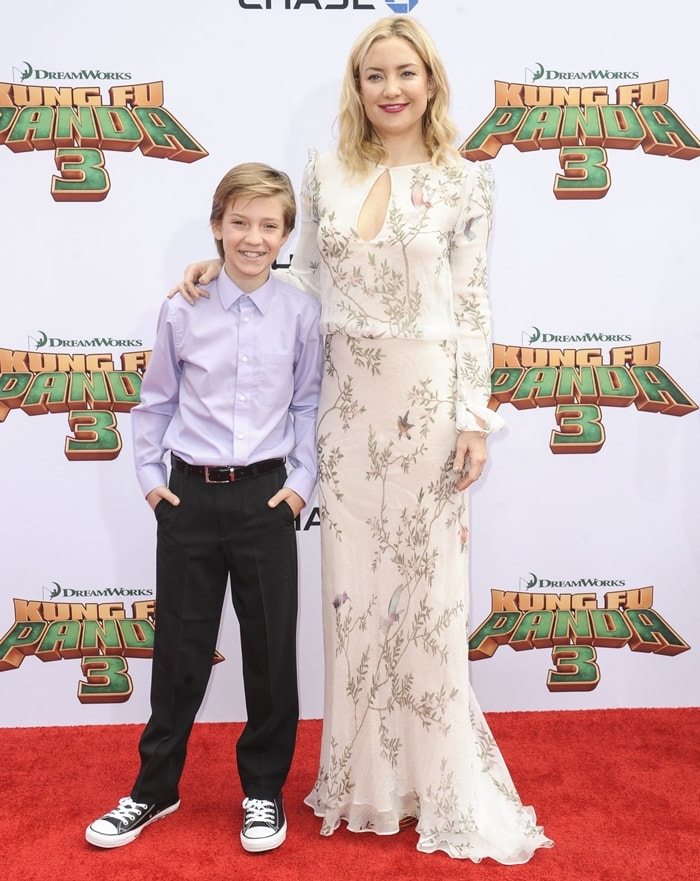 "Kate Hudson and her son Ryder Russell arrive for the premiere of DreamWorks Animation and Twentieth Century Fox's ""Kung Fu Panda 3"""