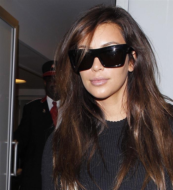Kim Kardashian's black oversized sunglasses