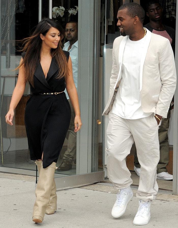 Kim Kardashian wearingGivenchy shark-lock fold-over wedge boots