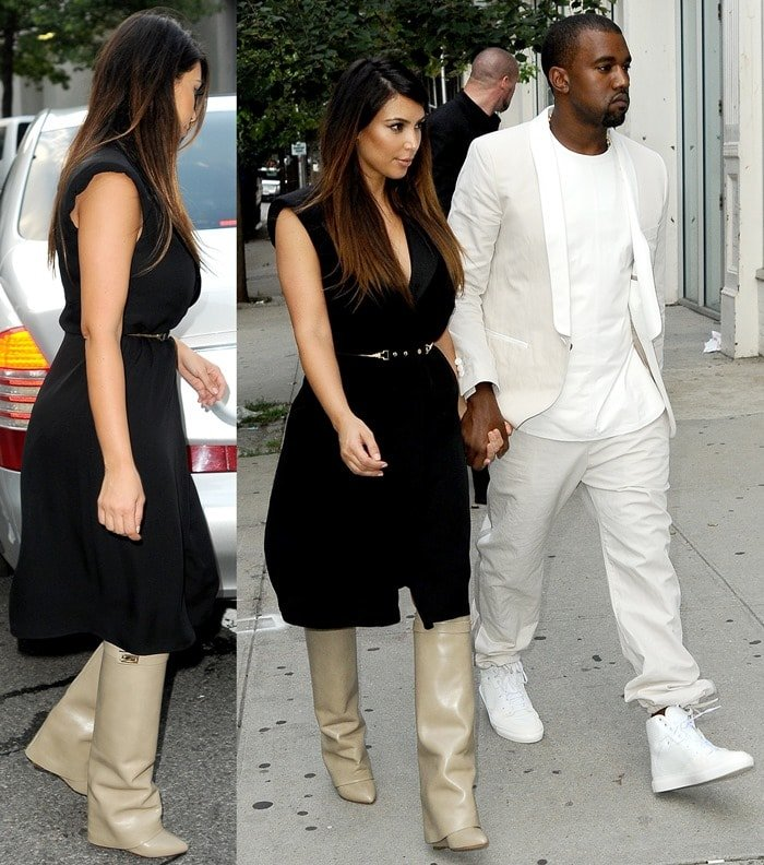 Kanye West and Kim Kardashian walking toward an awaiting Maybach