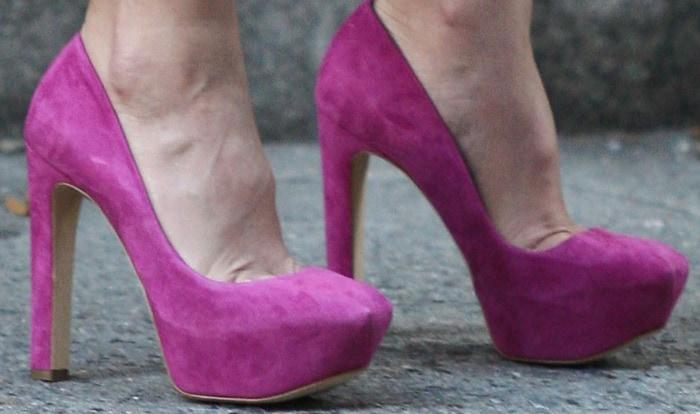 Leighton Meester wears Rupert Sanderson 'Gabor' platforms
