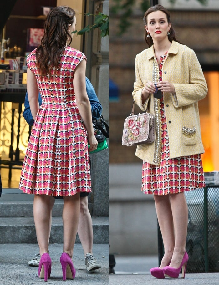 Leighton Meester filming a scene for her television series 'Gossip Girl'