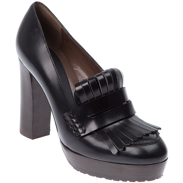 Marni folded kiltie high heel loafer