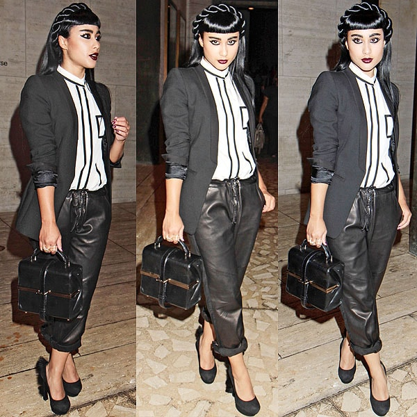 Natalia Kills exits the Charlotte Ronson runway show held during the Mercedes-Benz Fashion Week in New York City on September 7, 2012