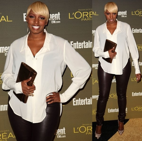 Nene Leakes' sheer white button-front blouse at the 2012 Entertainment Weekly Pre-Emmy Party
