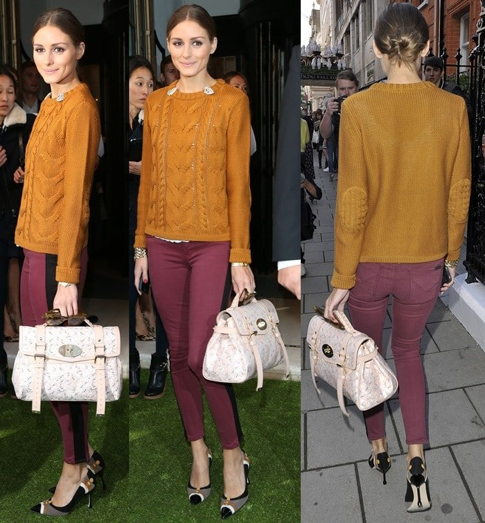 Olivia Palermo paired a burnt orange textured sweater with aubergine skinnies