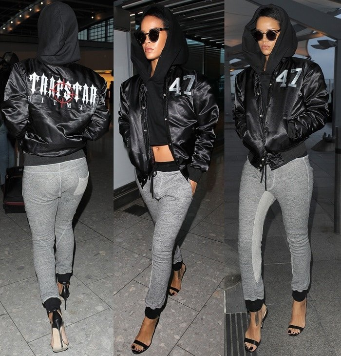 Rihanna wears athletic-inspired track pants with Manolo Blahnik sandals