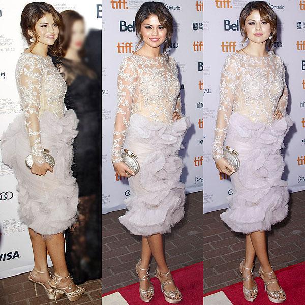 Selena Gomez in a ruffle-skirted Marchesa dress