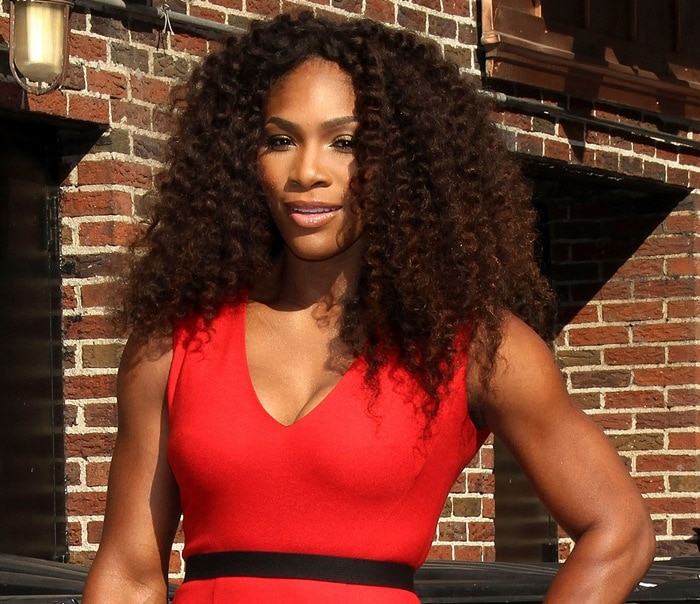 Serena Williams leaves 'The Late Show with David Letterman' at Ed Sullivan Theater on August 22, 2012 in New York City