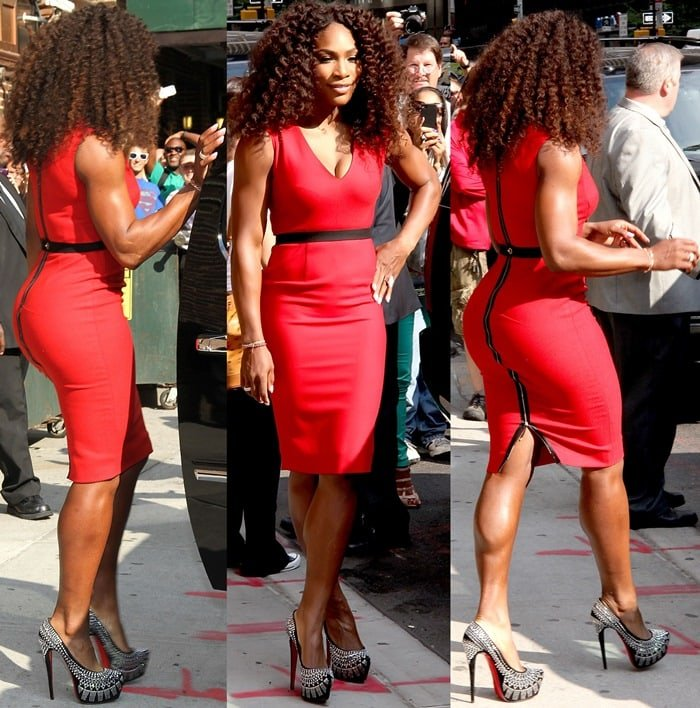 Serena Williams ina red belted textured wool-blend dress by Victoria Beckham