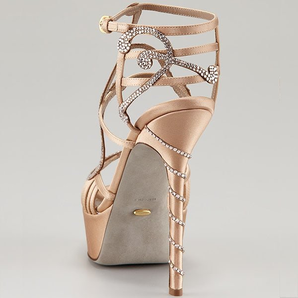 Sergio Rossi crystal satin Song sandal