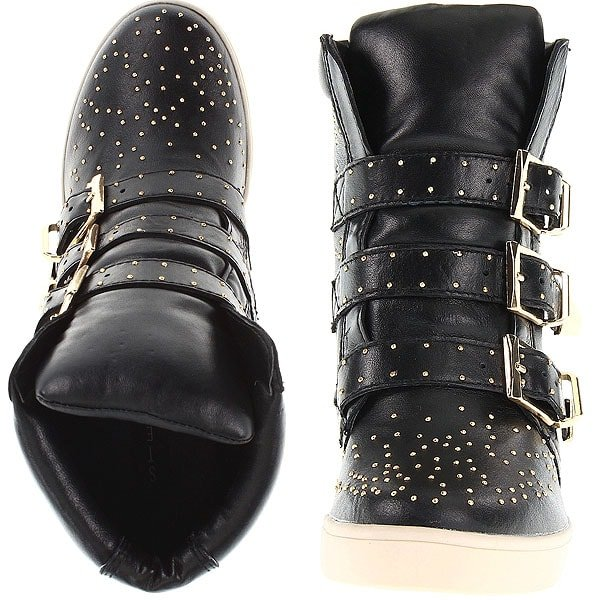 Starry studs twinkle on a high-top sneaker with a hidden wedge for extra edge