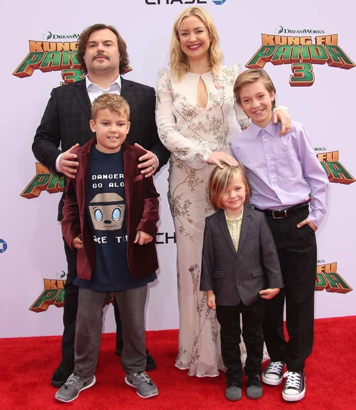 Jack Black with his second son Thomas David Black and Kate Hudson with her sons Ryder Robinson and Bingham Hawn Bellamy