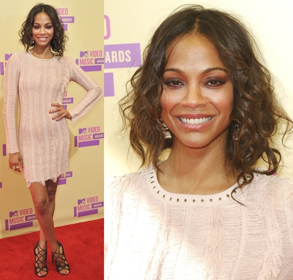 Zoe Saldana at the 2012 MTV Video Music Awards held at the Staples Center in Los Angeles on September 6, 2012