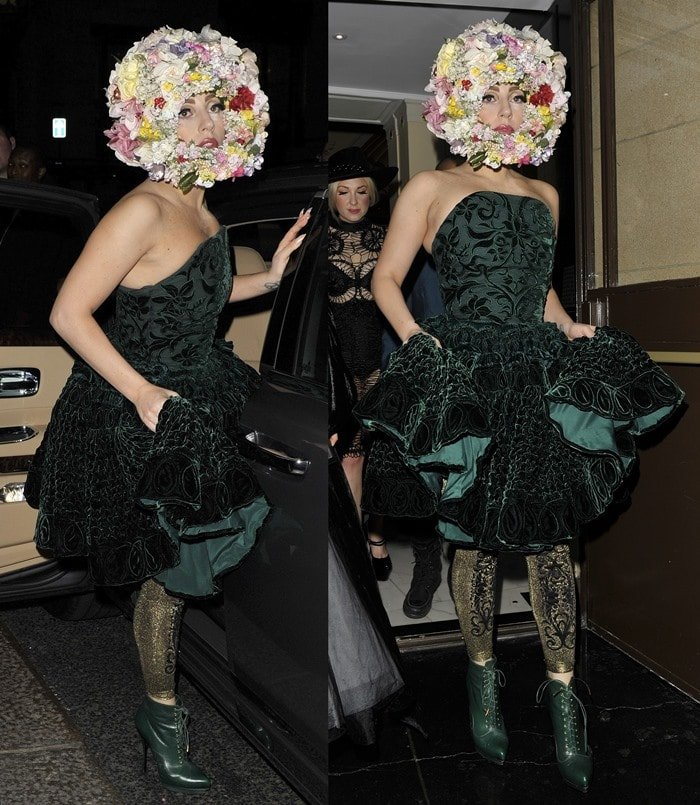 Lady Gaga leaving her hotel wearing a green dress and a headpiece made of flowers on her way to the Philip Treacy catwalk show during London Fashion Week in London on September 16, 2012