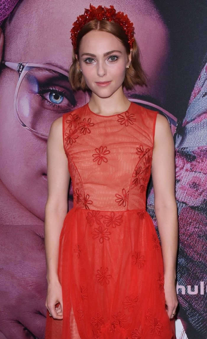 AnnaSophia Robb's red floral pattern ruched dress from Simone Rocha