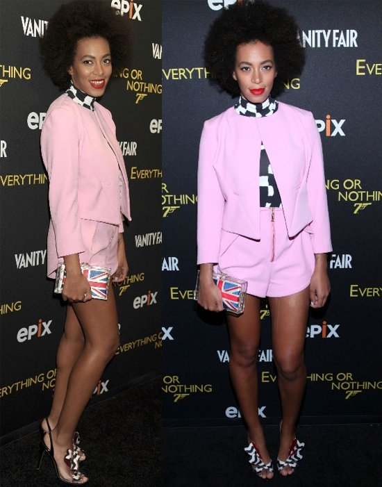 Solange Knowles flaunts her legs at the premiere of Everything or Nothing: The Untold Story of 007