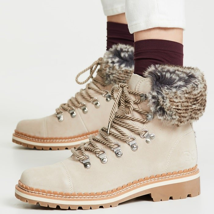 The bootie from Sam Edelman pairs opulent faux fur with functionality, treating your feet to hiking style boots that are just as appropriate for ascending escalators for shopping excursions as they are for countryside expeditions