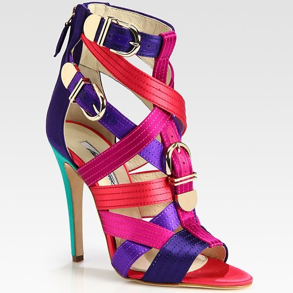 Brian Atwood 'Encanta' Buckled Multicolored Strappy Satin Sandals