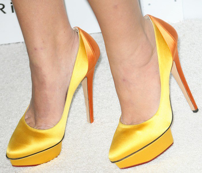 Busy Philipps wearing Charlotte Olympia heels