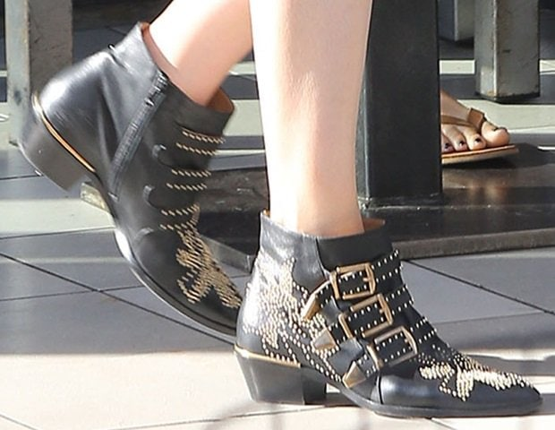 Mandy Moore shows off her black studded Chloe boots