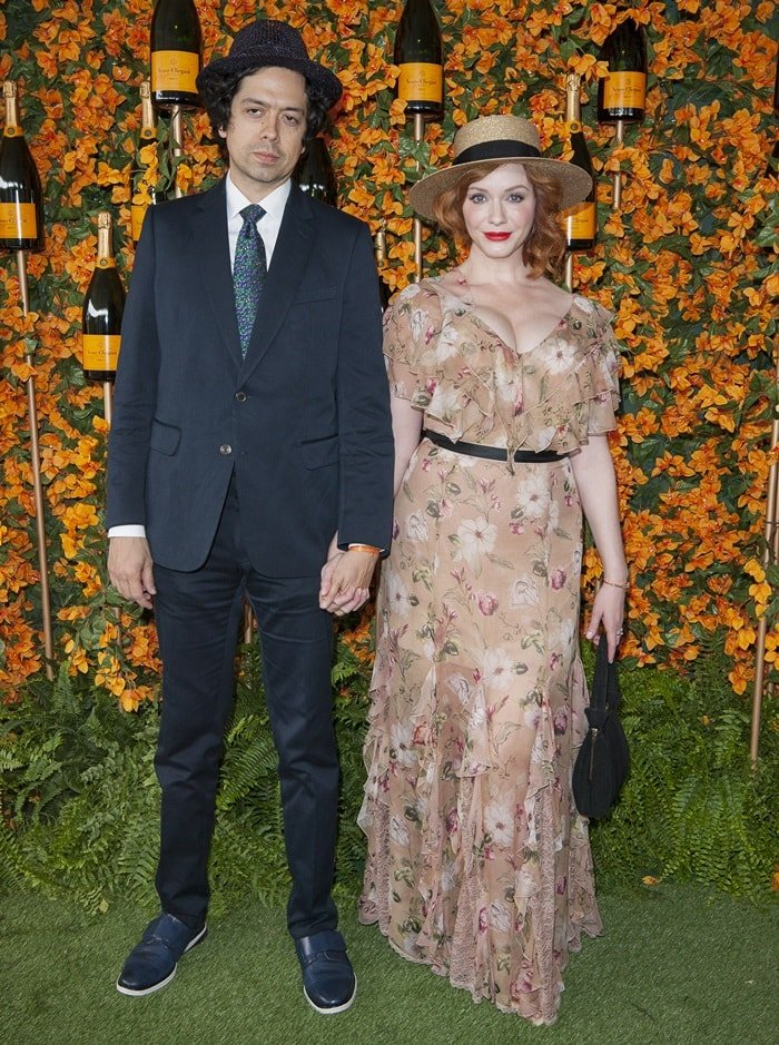 Christina Hendricks and husband Geoffrey Arend at the 2018 Veuve Clicquot Polo Classic at Will Rogers State Historic Park in the Pacific Palisades, California, on October 6, 2018