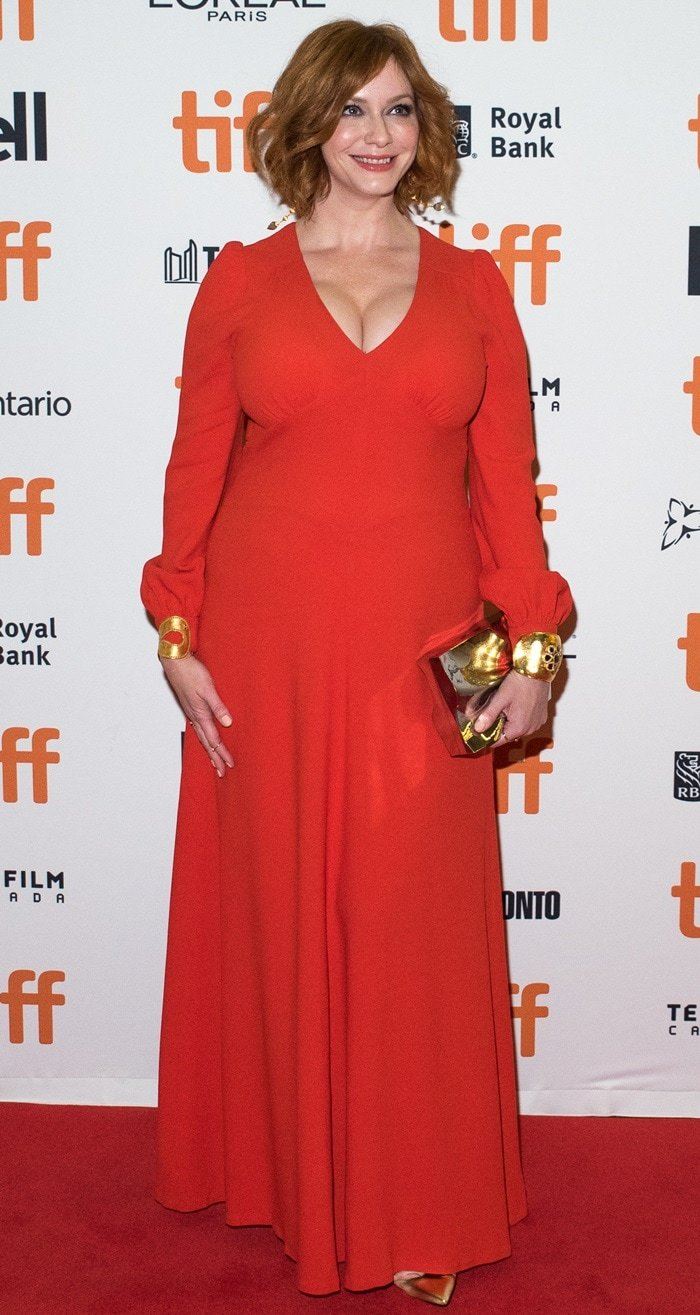 Christina Hendricks in Bella Freud's 'Nova' crepe maxi dress at the premiere of American Woman at 2018 Toronto International Film Festival in Toronto, Canada, on September 9, 2018