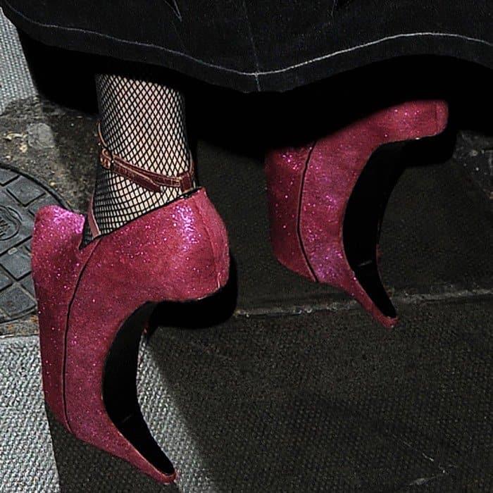 Lady Gaga wearing heelless Nina Ricci wedges