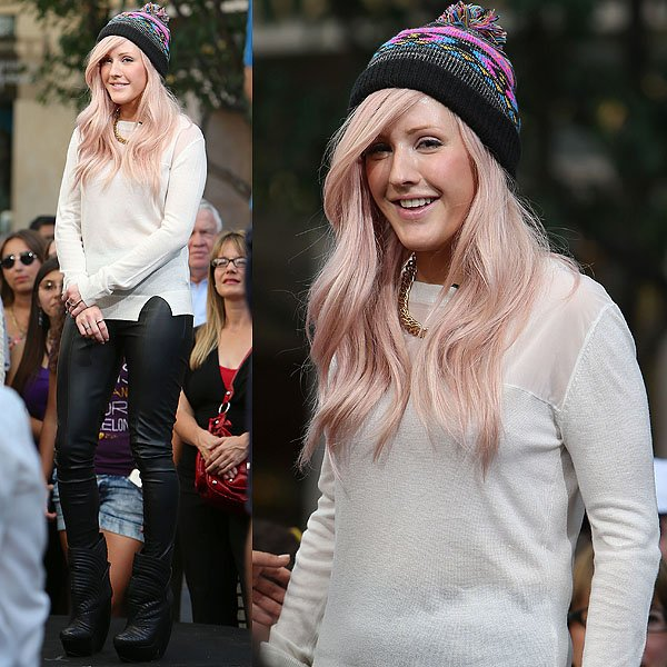 """Ellie Goulding appears on the entertainment news show """"Extra"""" at The Grove in Los Angeles on October 18, 2012"""