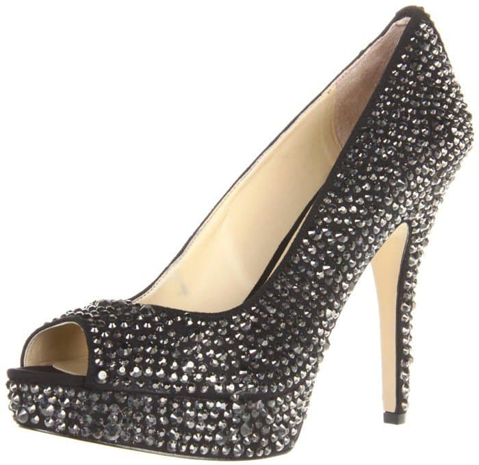 Enzo Angiolini Show You Crystal and Suede Peep Toe Pump