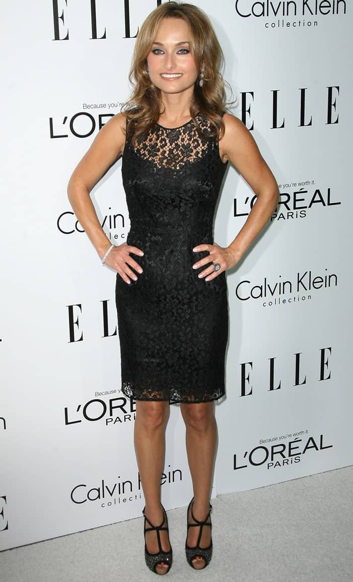 The Italian-born American chef, writer, and television personality styled her black lace dress with a stunning pair of crystal-coated peep-toe heels