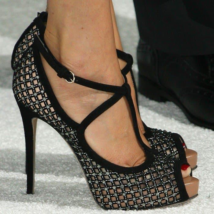 Giada De Laurentiis wearing crystal-coated peep-toe heels