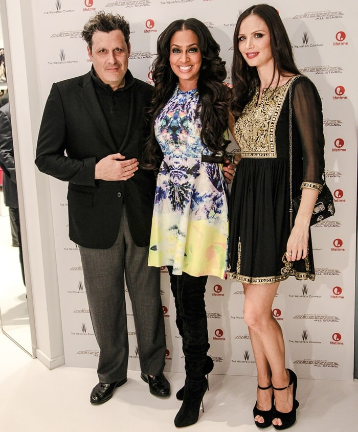Isaac Mizrahi, LaLa Anthony,and Georgina Chapman at the premiere of Project Runway Allstars at Nine West in New York City on October 25, 2012