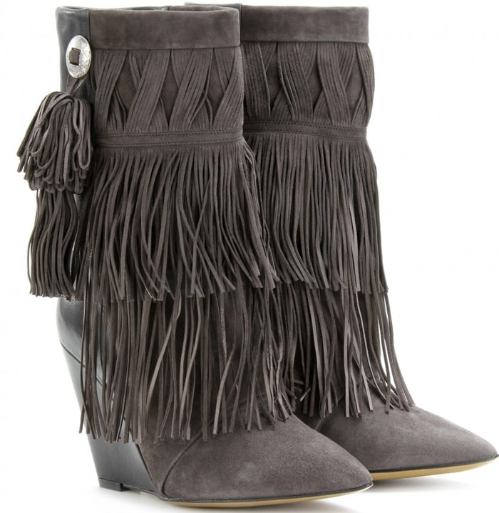 Isabel Marant Gray Jacob Fringed Wedge Boots