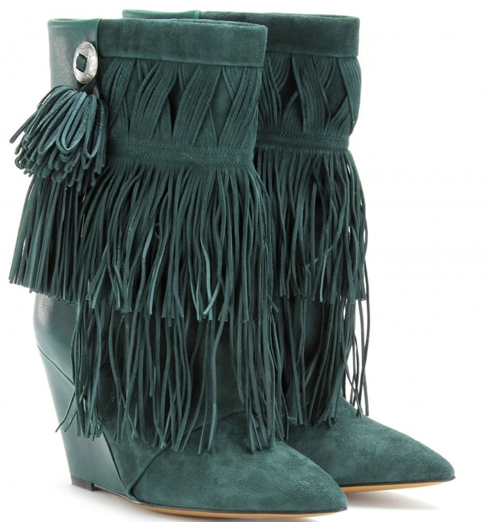 Isabel Marant Green Jacob Fringed Wedge Boots