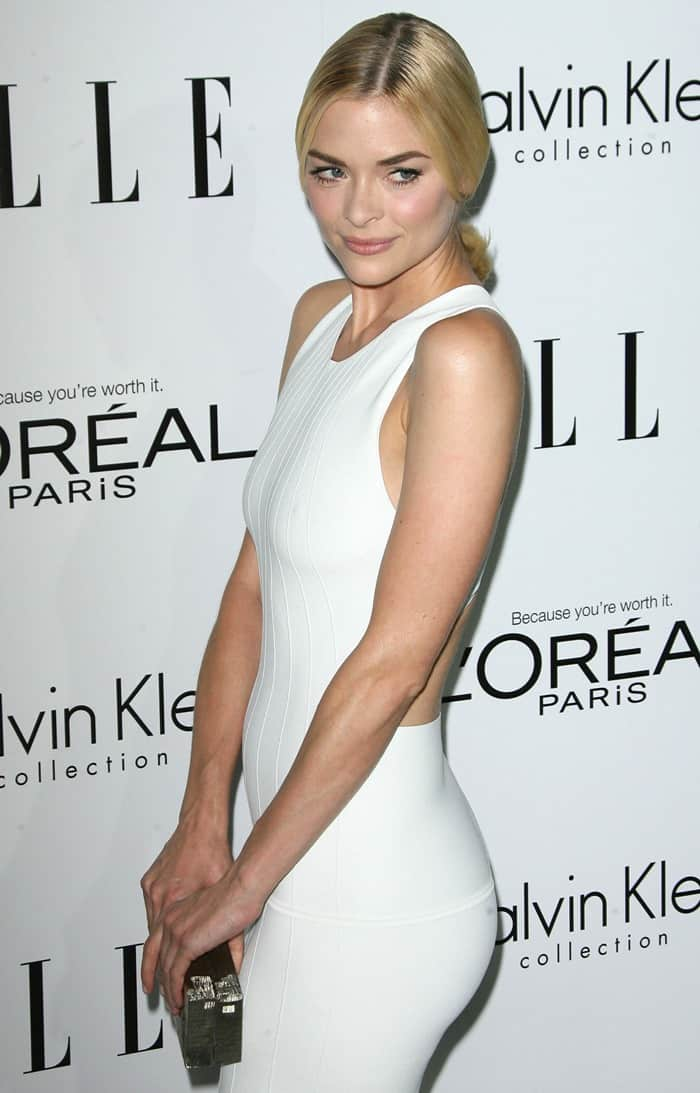 Jaime King wearing a white cutout dress from Calvin Klein at ELLE's 19th Annual Women in Hollywood Celebration held at Four Seasons Hotel in Beverly Hills on October 15, 2012