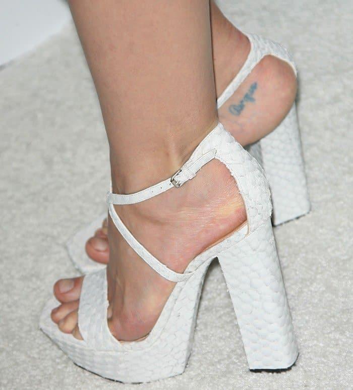 Jaime King rocking chunky platform Calvin Klein sandals