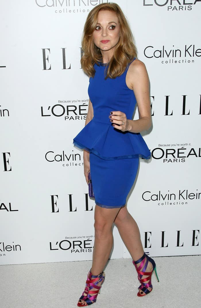 Jayma Mays in a cobalt blue cockatil dress from Alexandra Vidal's Spring 2013 collection