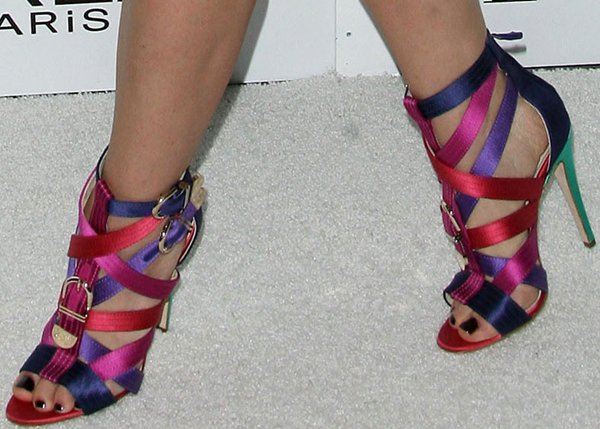 Jayma Mays wearing Brian Atwood 'Encanta' buckled multicolored strappy satin sandals