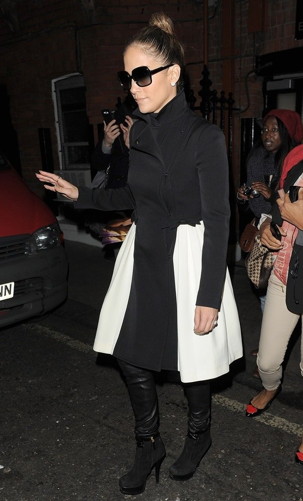 Jennifer Lopez used the suede Fendista to cap off a black and white coat and leather skinnies combo