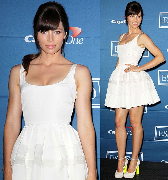 Jessica Biel at the 2012 ESPY Awards press room at the Nokia Theatre L.A. Live in Los Angeles, California, on July 11, 2012