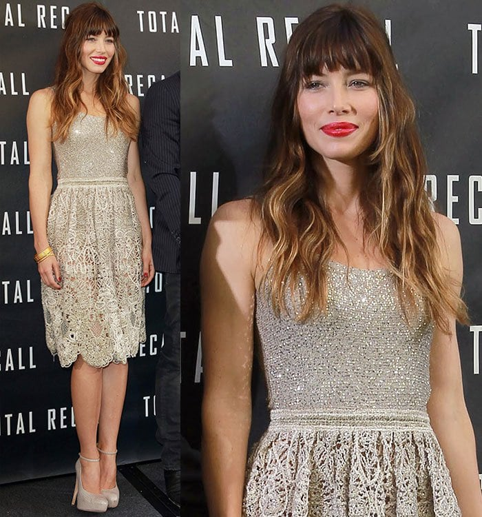 Jessica Biel at a Los Angeles photo call for Total Recall held at The Four Seasons Hotel in Beverly Hills, California, on July 28, 2012