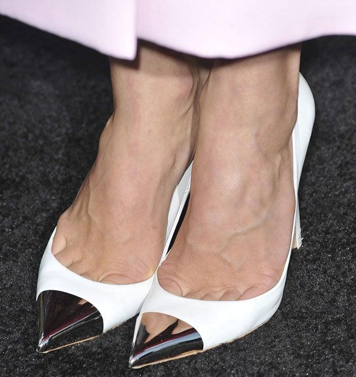 Jessica Biel wearing Louis Vuitton metallic cap-toe pumps