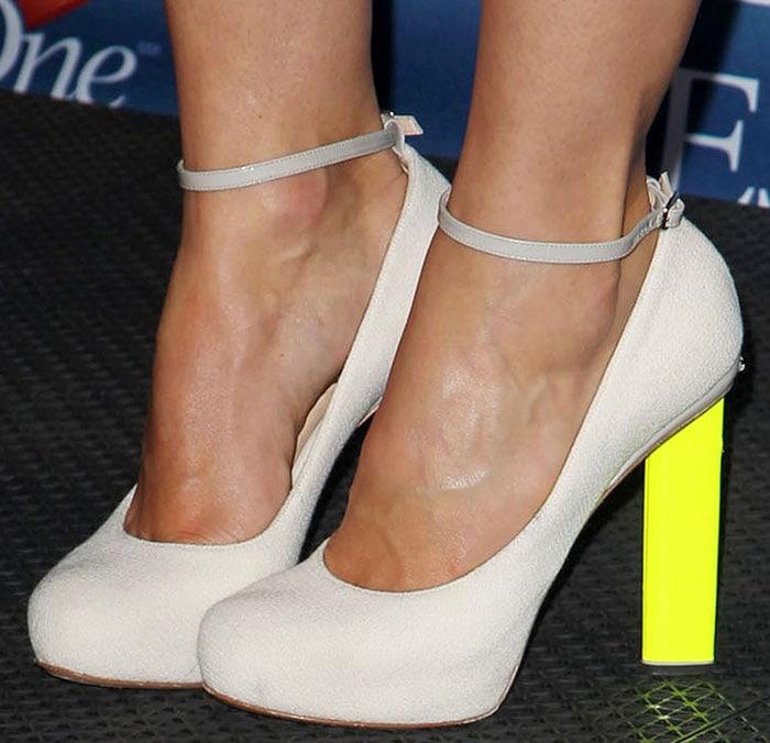 Jessica Biel in Nicholas Kirkwood for Roksanda Ilincic neon-heeled pumps