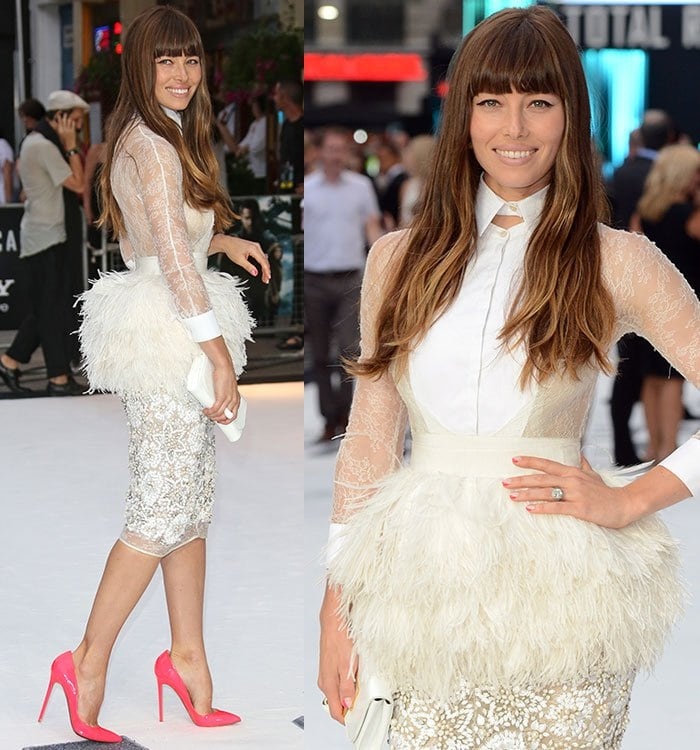 Jessica Biel at the London premiere of Total Recall held at Vue Leicester Square in London, England, on August 16, 2012