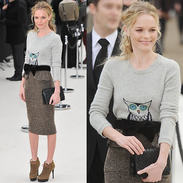 Kate Bosworth flaunts her legs at the Burberry Fall 2012 presentation