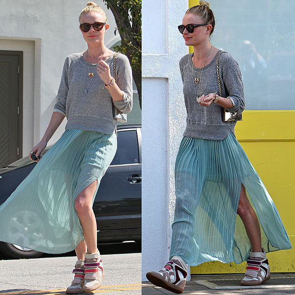 Kate Bosworth flashes her legs while leaving Byron and Tracey Salon