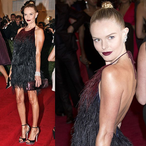 Kate Bosworth poses on the red carpet at the Schiaparelli and Prada 'Impossible Conversations' Costume Institute Gala