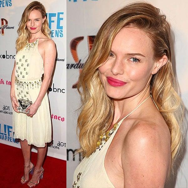 "Kate Bosworth rocking a beige Prada dress at the ""L!fe Happens"" premiere"
